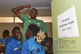 Photo: Amavubi lift Eric  NDAYISHIMIYE (1) in celebration after his penalty shoot-out save  [Rwanda vs Sudan, CECAFA 2015, Semi final, 3 Dec 2015 in Addis Ababa, Ethiopia.  Photo © Darren McKinstry 2015, www.XtraTimeSports.net]