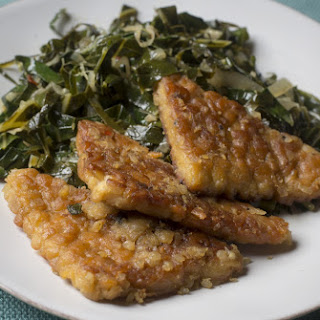 Miso-Mustard-Glazed Tempeh With Collard Greens.