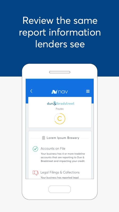 Nav: Business Credit & Finance- screenshot