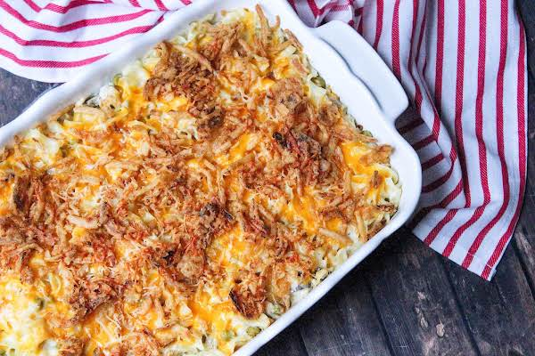 Tuna Noodle Casserole With Cream Cheese In A Baking Dish.