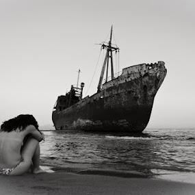 Wreck... by Elias Spiliotis - People Fine Art ( sand, loneliness, black and white, sadness, ship, wreck, greece, sea, horizon, beach, travel, people, woman )