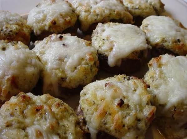 Triple Cheese And Pesto Stuffed Mushrooms Recipe