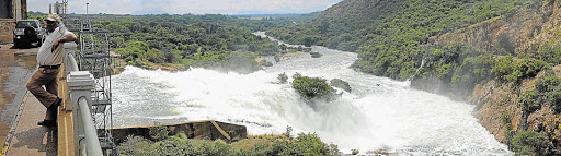 The Crocodile River in full spate below the Hartbeespoort Dam wall. Heavy rains have led to flood warnings across the country.