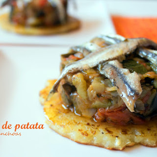 Potato Pancakes with Ratatouille and Anchovy.