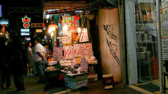 Night, Scene, street, 夜, 景, 街, 香港, hong kong, fruit stand