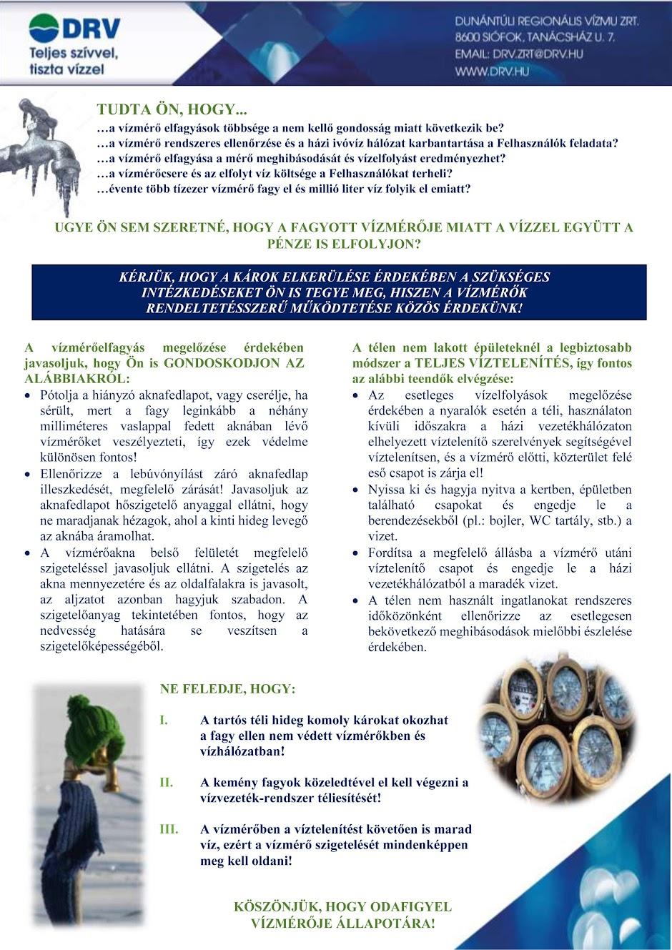 Vízmérő elfagyás elleni védekezés 2017
