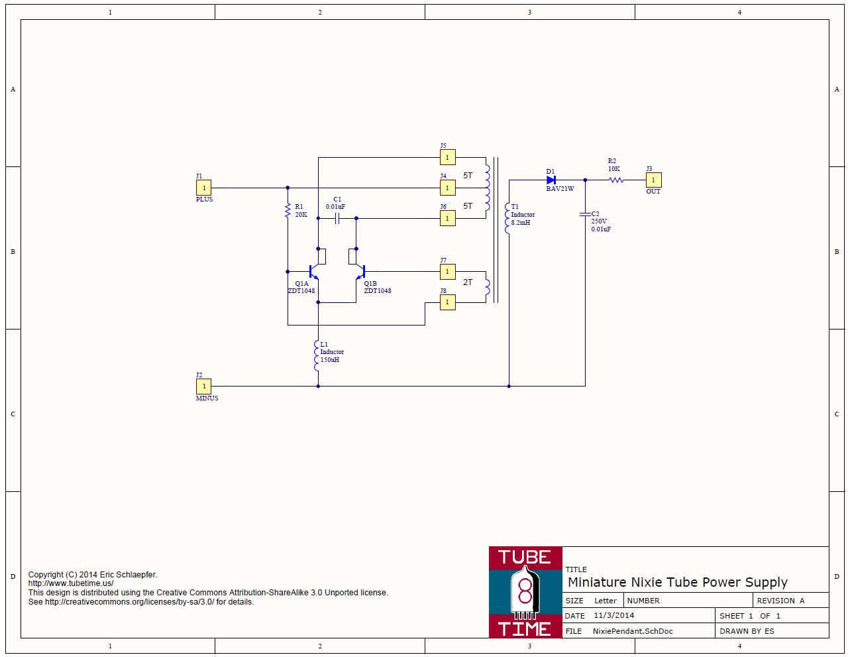 Photo: Miniature Nixie Tube Power Supply Schematic