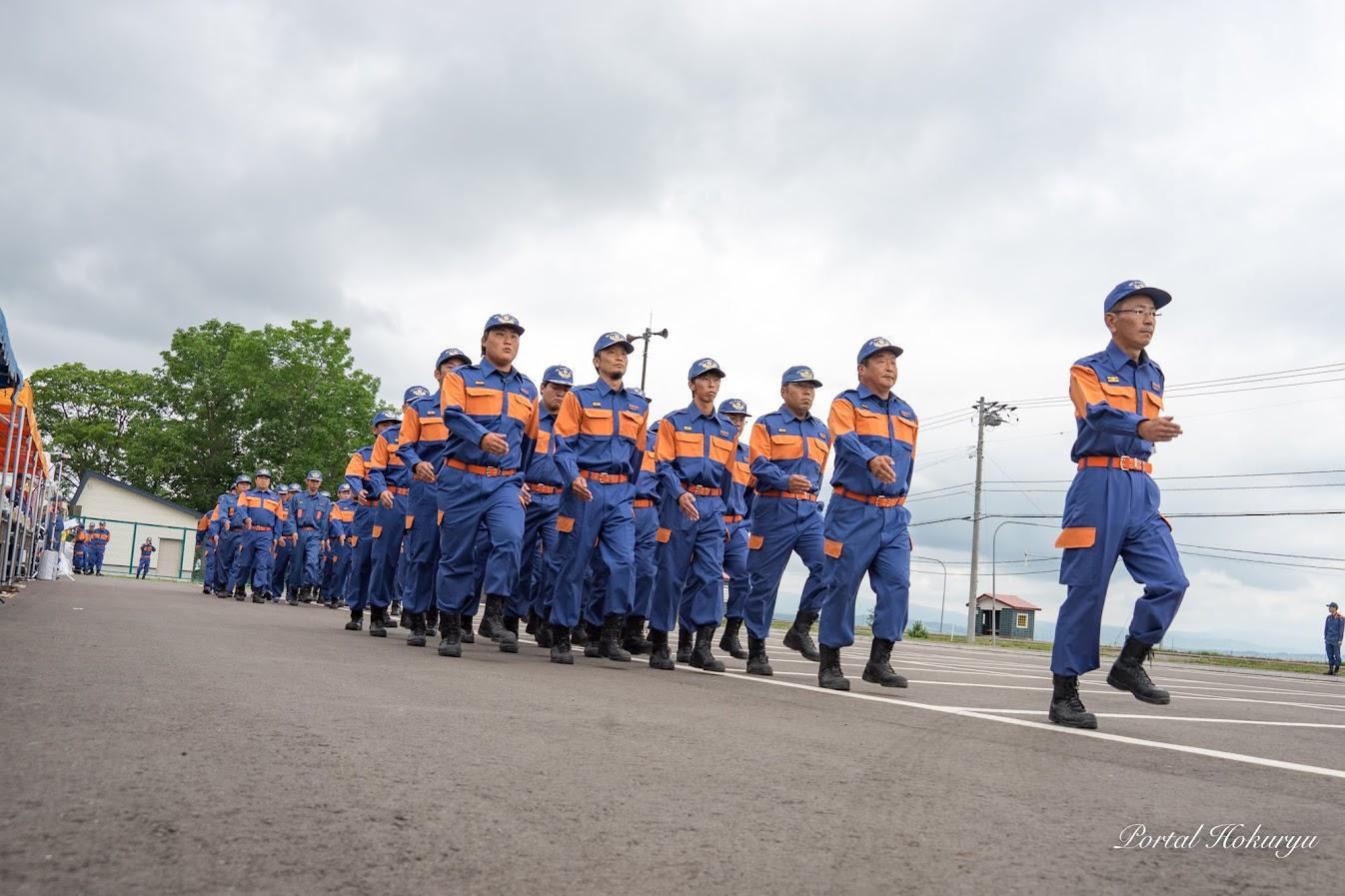 規律訓練(中隊及び小隊訓練)北竜消防