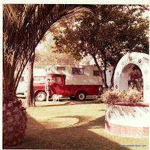 Photo: Our truck camper in a campgroun in Mexico City.  That's Marilyn in the bathing suit.  No clue where the dog came from.  We traveled with 2 cats!