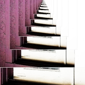 Doorsteps to Nowhere by Angelika Sauer - Abstract Patterns ( abstract, white, eternity, steps, vanish, angle, old meets new, frame, details, subjects of interest, another sight of view, pattern, violet, interesting backgrounds, architecture de, perspective, profiles, visions )