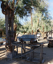 Photo: The museum offers a pictorial history and showcases artifacts from the past such as antique stagecoaches, mining tools and a railroad steam locomotive. It is the oldest structure in Death Valley. The yard is filled with mining equipment. All the objects and machines within and around the museum were assembled so that visitors to the Valley might better understand the history of Death Valley and the twenty mule team. Pictured here: equipment for crushing ore.