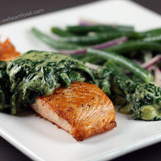Seared Salmon with Spinach and Creamy Roasted Peppers