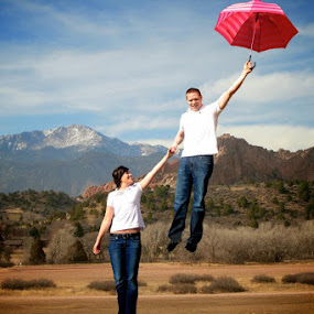 Up, up & away... by Ashley Vanley - People Couples ( love, flying, engagements, umbrella, couples )