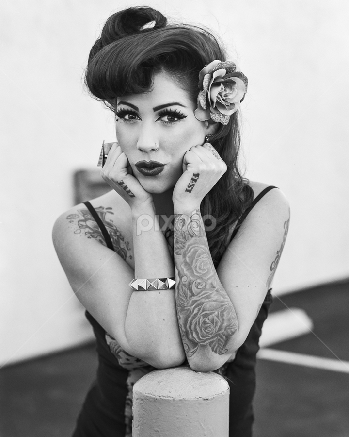 Mele by Charles Lugtu - Black & White Portraits & People ( 4x5, film, fashion, cutesy, large format, black and white, tattoos, pinup, hair,  )