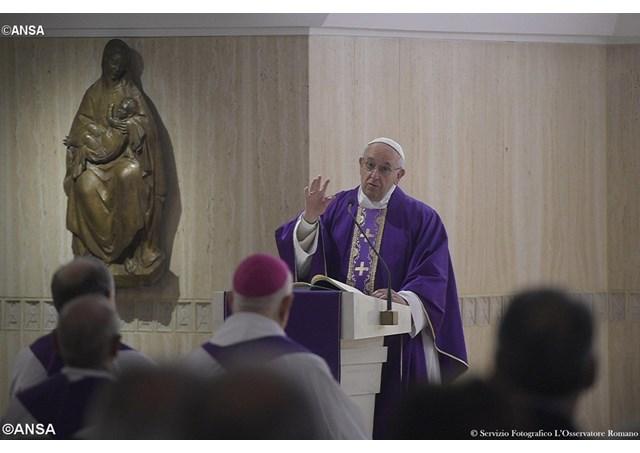 Pope Francis preaches during Mass at the Casa Santa Marta.  - ANSA
