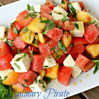 Peach, Watermelon and Tomato Salad with Fresh Mozzarella and White Wine Vinaigrette