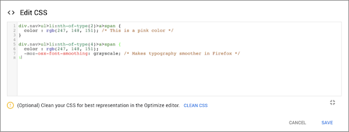 Optimize CSS code editor screenshot.