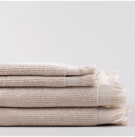 Linen Life handduk - linnefärgad, randig