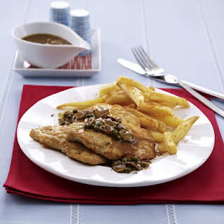 Chicken Schnitzels with Mushrooms and Fries.