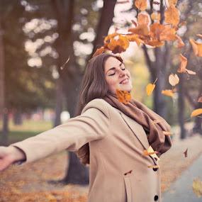 Leaves Falling by Jay Reich - People Portraits of Women ( orange, woman, leaves, fall, joy, person,  )