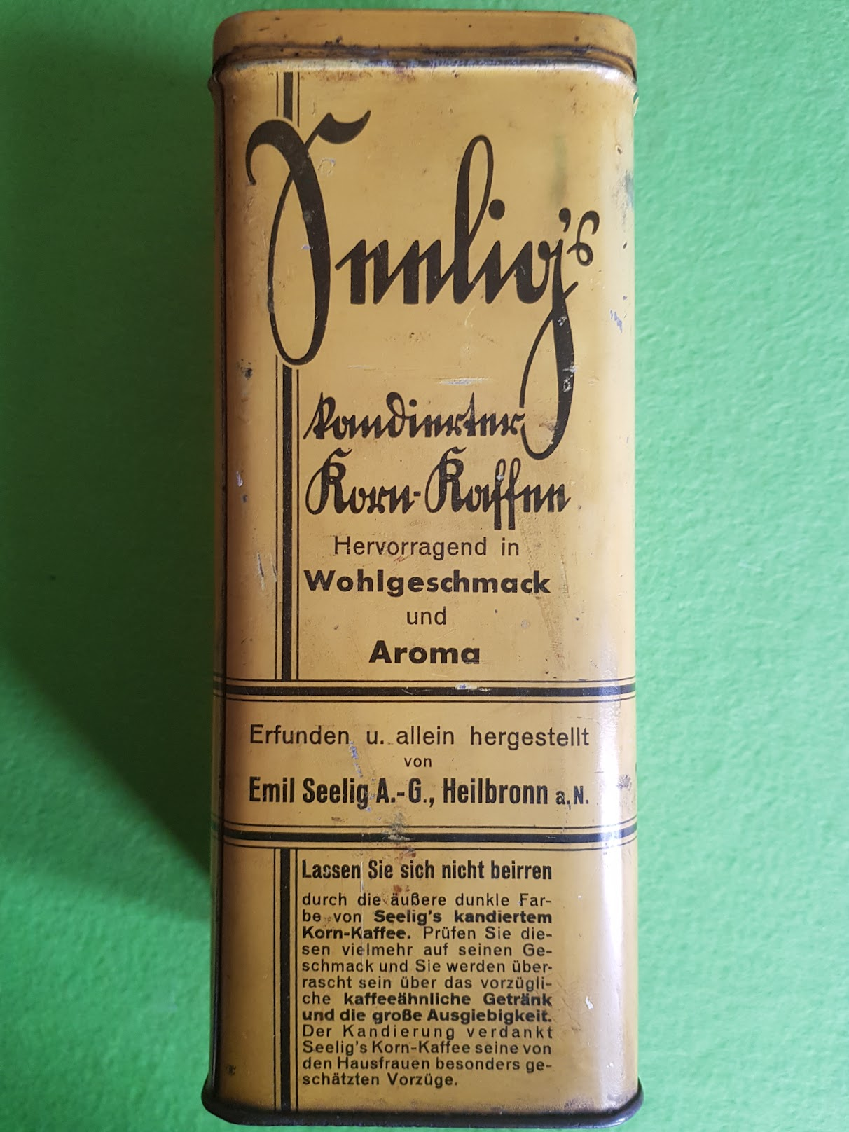 Seelig's kandierter Korn-Kaffee, Kaffee-Ersatz, Firma Emil Seelig, Heilbronn