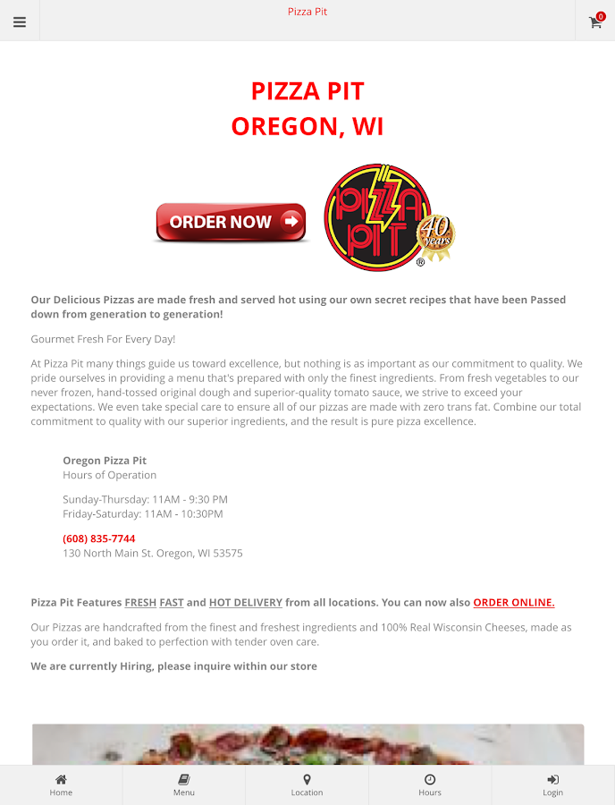 Oregon Pizza Pit Ordering- screenshot