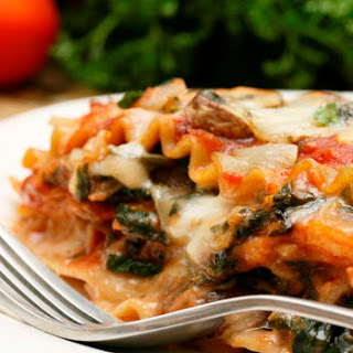 Easy Whole Wheat Vegetarian Spinach Lasagna.