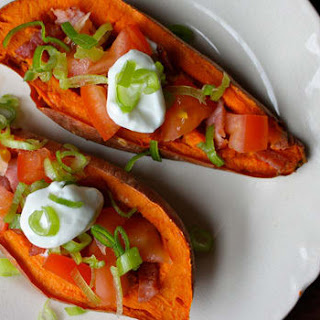 Sweet Potato Skins with Turkey Bacon and Tomatoes.