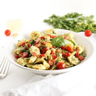 Carrot Top Pesto Tortellini Pasta Salad.