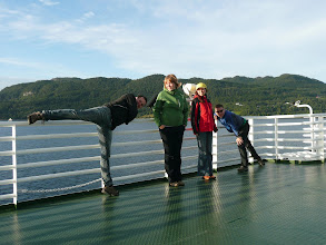 Photo: Stretching on a ferry