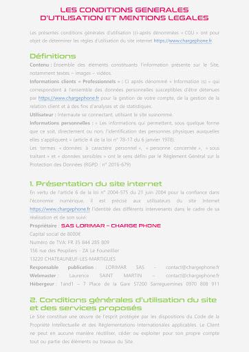 Conditions générales utilisation site internet CHARGE PHONE