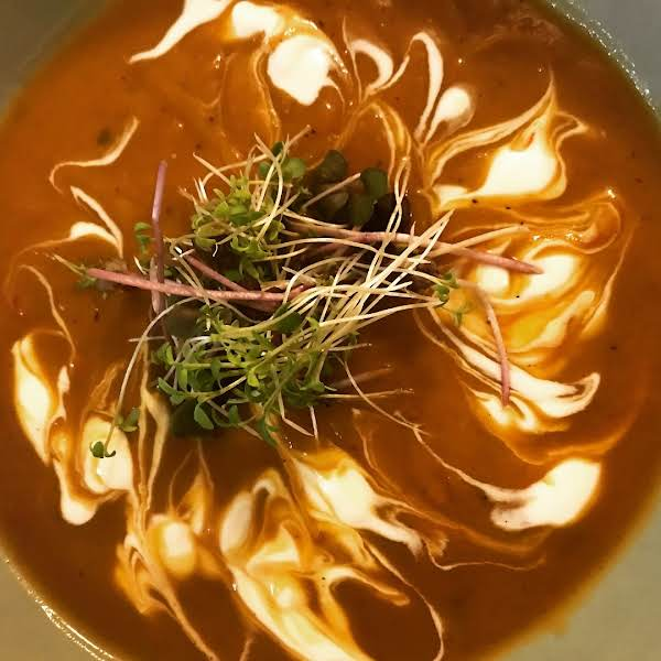 Autumn Harvest Squash & Sweet Potato Bisque With Roasted Bull Peppers.
