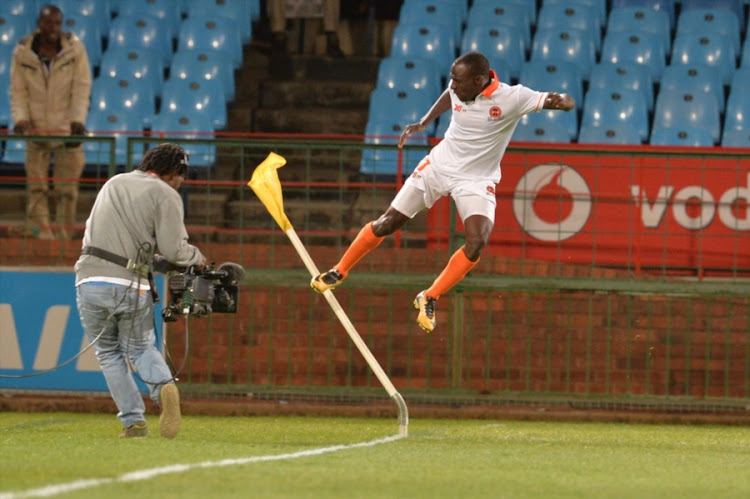 Rodney Ramagalela celebrates his brace during the Absa Premiership match between Mamelodi Sundowns and Polokwane City at Loftus Versfeld Stadium on August 22, 2017 in Pretoria, South Africa.
