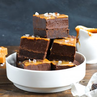 Chocolate Fudge Caramel Swirl Brownies.