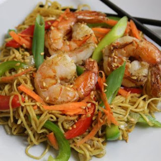 Japanese Style Shrimp Stir Fry Noodles