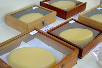 Photo: Excellent cakes of beeswax that would all take a prize at the National honey show.