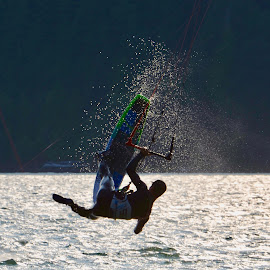 Up and away by Cory Bohnenkamp - Sports & Fitness Surfing ( surfer, big air, water sports, surfing, kite surfer, sport )