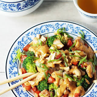 Spicy Peanut Chicken and Broccoli Stir-Fry.