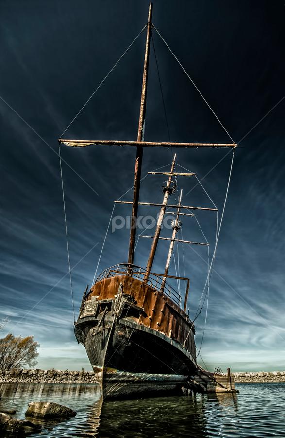 Ghost Ship by Sarah Hauck - Transportation Boats ( water, shore, clouds, mast, old, shipwreck, ship, hamilton, lake, ontario, rusty, abandoned )
