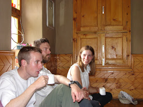 Photo: OUMC enjoying tea and tsampa in Moti's house in Khanjar.