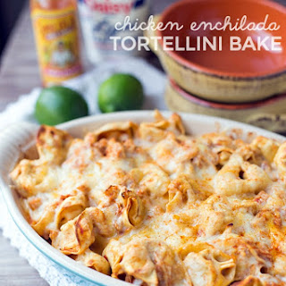 Five Ingredient Chicken Enchilada Tortellini Bake