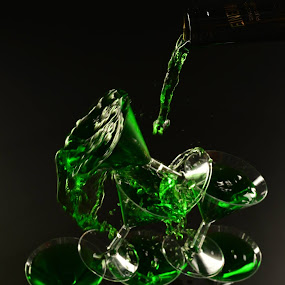 The flowing pyramid of falling green by Tj Barney - Food & Drink Alcohol & Drinks