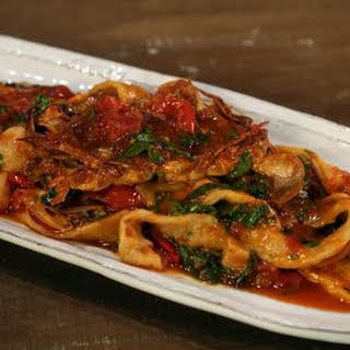 Soft Shell Crab Falsi Testaroli with Lemon Tomato Basil Sauce.
