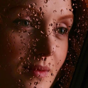 Veiled... by Joseph Quartson - People Portraits of Women ( window, woman, beautiful, drops, ivory, flame )