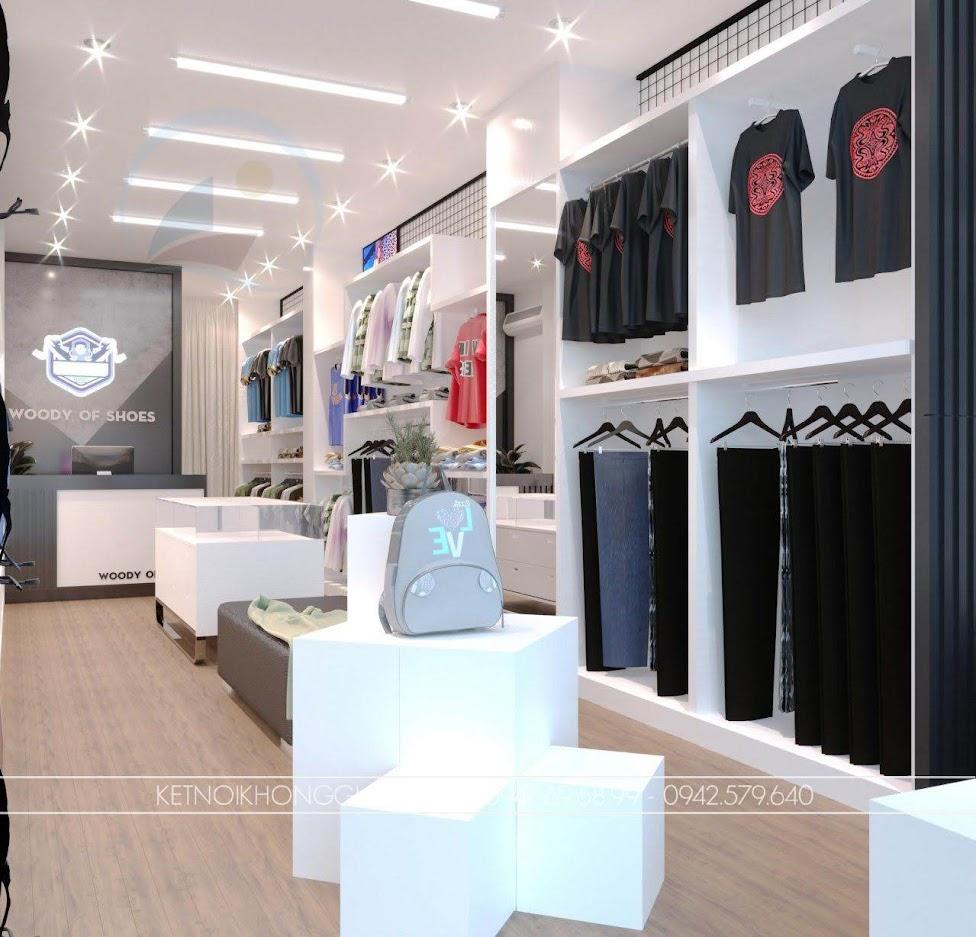 thiết kế shop sử dụng tông màu trắng