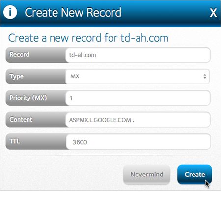 MX record Create button