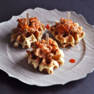 Mini Duck Fat Fried Chicken & Bacon Waffles with Sriracha Honey.