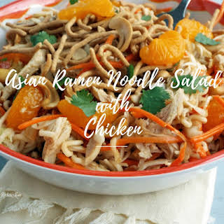 Asian Ramen Noodle Salad With Chicken.