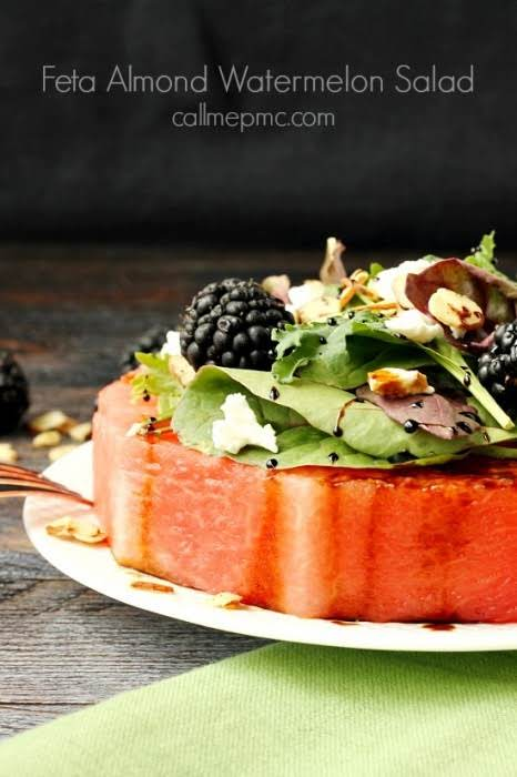 "Feta Almond Watermelon Salad""Feta Almond Watermelon Salad is the coolest of salads...."