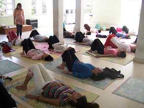 Photo: 1 Month YTT Course - Batch of May 2008 - Jeenal Mehta conducting Pranayama's Class (students performing Yogendra Pranayama IV).
